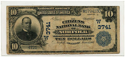1902 $10 National Banknote Plain Back The Citizens NB of Norfolk, NE Ch #3741