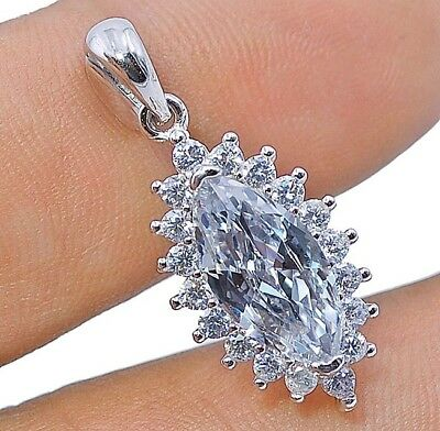2CT White Sapphire 925 Solid Genuine Sterling Silver Pendant Jewelry