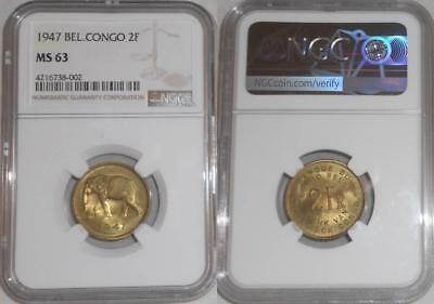 1947 Two Francs Brass Coin Belgian Congo Elephant Moving Left NGC Graded MS 63