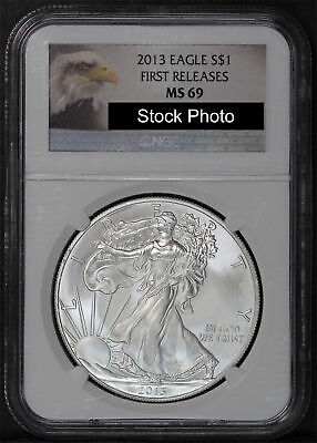 2013 American Silver Eagle First Release NGC MS-69 Eagle Label -168464