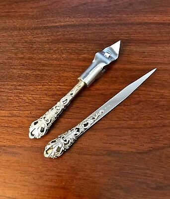 Unusual American Sterling Silver Reticulated Matching Bottle & Letter Opener