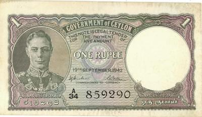 Ceylon 1 Rupee Currency Banknote 1942 XF