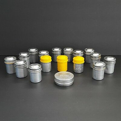 Lot of 17 Vintage Metal Film Containers Canisters Kodak Yellow Tops