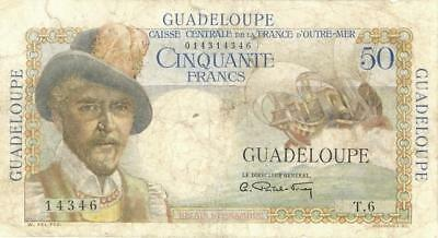 Guadeloupe 50 Francs Currency Banknote 1947