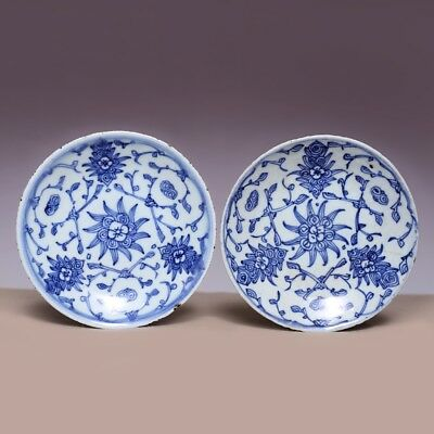 A Pair Chinese Porcelain Dish Qing Dynasty Blue and white Flower Old Plate JZ422