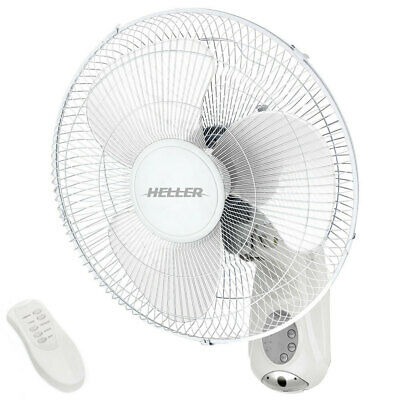 Heller HWAL40R White Mountable Wall Fan Remote Control Air Cooler Timer 40cm 50W