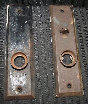 Matching Vintage Pair Of Small Door Lock Plates. Has Working Lock Slide.