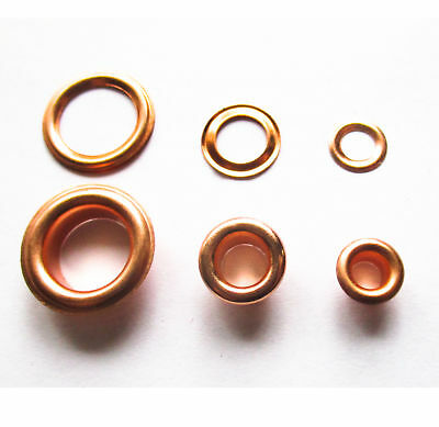Rose Gold eyelets with washer 4mm, 5mm, 10mm ID pkt 20