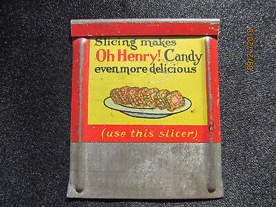 Little Vintage Oh Henry Candy Bar Slicer Metal Double Sided Advertising Tin