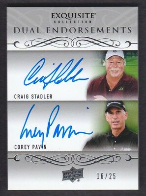 2014 Exquisite Golf Doppelt Endorsements Craig Stadler / Corey Pavin 16/25 Auto