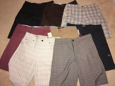 Men's Shorts Lot Vans Tony Hawk Plaid Cargo Pinstripes Red Black Khaki Size 34
