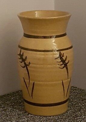 Abaty Welsh Stoneware Pottery Tan Ornamental Vase Made In Wales