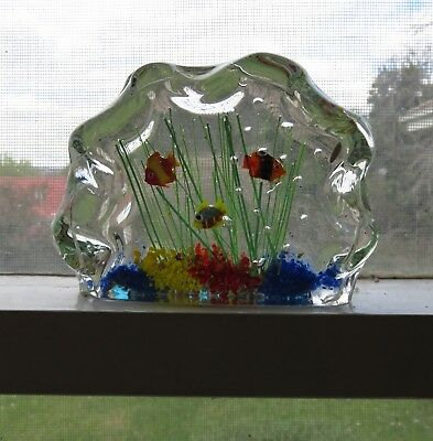 Genuine Large Murano Glass Aquarium Fish Tank Sculpture Exc Cond