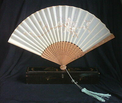 Antique Chinese Export Silk Fan, Painting and Lacquer Box