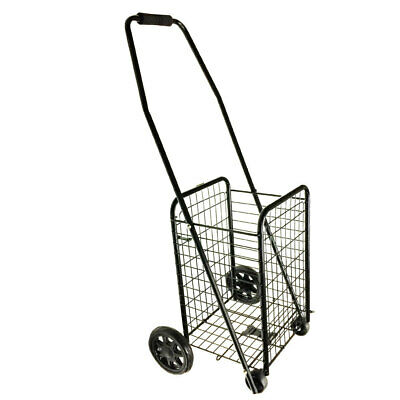 Portable Trolley Cart 4 Wheels Grocery Shopping Foldable Basket Metal Holds 20Kg