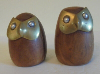 Pair Of Solid Hardwood Wood And Brass Owl Figures. Excellent