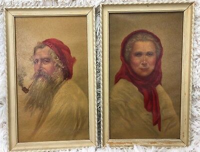 Vintage Pair Print Old Man And Old Woman Of Capri 2 Framed Prints