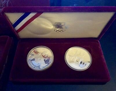 1983-S  & 1984-S Proof Olympic Two Piece Silver Dollar Set w/ Box