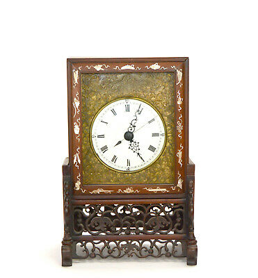 Original 1840 Antique Mother of Pear Inlaid Fusee Driven Chinese Bracket Clock