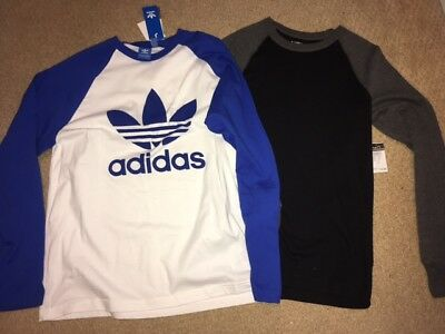 New Adidas Rue21 Baseball Trefoil Long Sleeve Blue Black Shirts Lot Size L Large