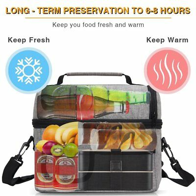 8L Insulated Lunch Bag Storage Cooler Bag School Picnic Work Outdoor Warm&Fresh