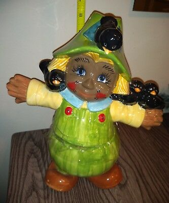 Black African American Scarecrow child Crows Bird RARE COOKIE JAR Halloween fall