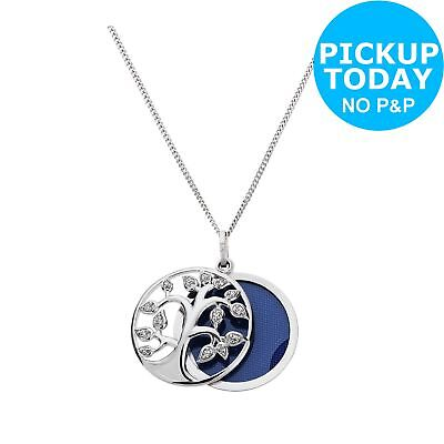 Moon & Back Silver CZ Family Tree Sliding 1 Photo Locket 18 Inch Necklace