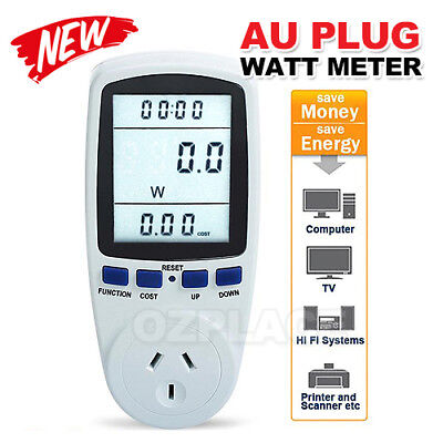 AU Plug Power Energy Consumption Watt Meter Electricity Usage Monitor Socket