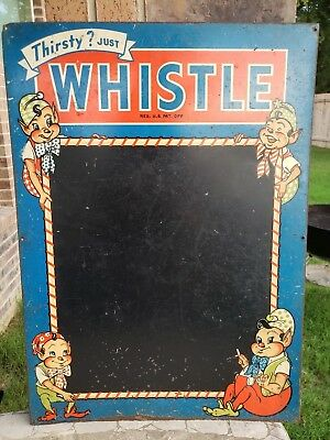 Rare Vintage Whistle Soda Chalkboard Sign Menu Board w/ Elves