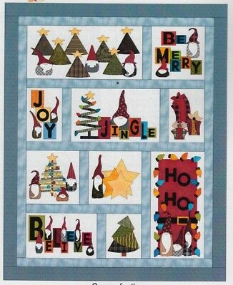 Gnome for the Holidays - fun applique & pieced quilt PATTERN - FatCat Patterns