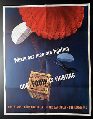 WWII Poster, Where Our Men Are Fighting Our Food Is Fighting, Paratroopers 28x22