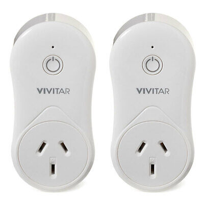 2x Vivitar Remote Wireless Smart Wi-Fi Plug Home Security System App USB Charger