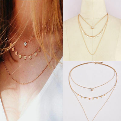Fashion Jewelry Women Crystal Multi-Layer Choker Collar Chain Pendant Necklace