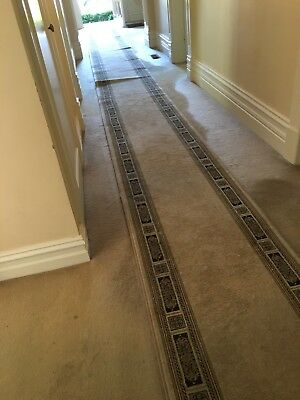 Beige / Black Hallway Runner Traditional Hall Runner Rug approx 9 Metres Long