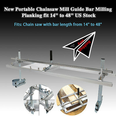 """Chainsaw Mill 14""""-48"""" Portable Chain Saw Mill Aluminum Steel Planking Lumber New"""