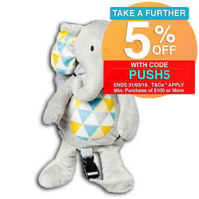 Playette 2in1 Deluxe Elephant Harness Buddy Backpack Toddler Soft Plush Toy 18m+