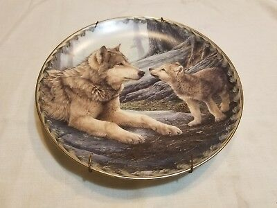 "Bradford Exchange Plate ""MOTHER KNOWS BEST-WAYS OF THE WOLF: A MASTERS COLL"" COA"