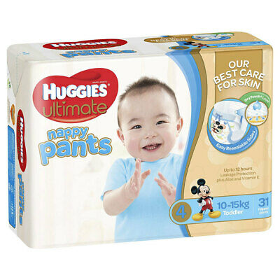 31PK Huggies Ultimate Nappy Pants Toddler Nappies Diaper Size 4 Boys 10-15kg