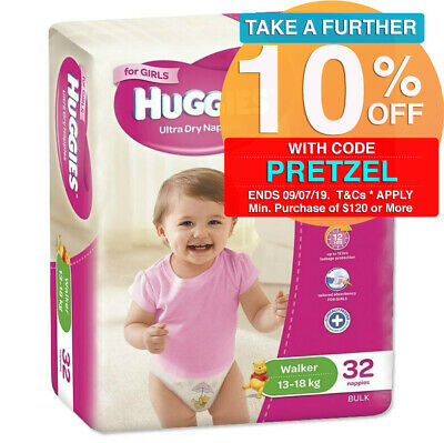 Toddler Huggies 32PK Ultra Dry Nappies Nappy Diaper Walker Girls 13-18kg Size 5