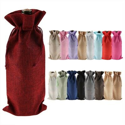 12PCS New Linen Bags Wedding Holiday Parties Decor Wine Bottle Bags Gift Pouch