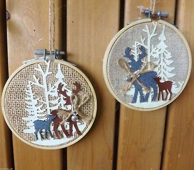 Nordic Jute Forest Stag Reindeer Embroidery Hoop Plaque Christmas Decoration