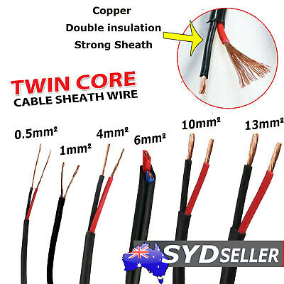 Dual Sheath Twin Core Wire 1 0.5 2.5 4 6mm Caravan Truck Extension Cable 9-20AWG