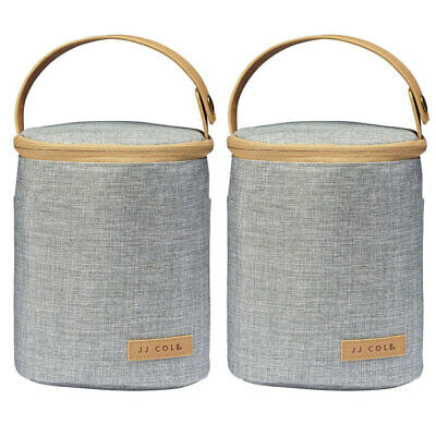 2x JJ Cole Grey Insulated Thermo Cooler Bag Ice Pack for Baby Bottle Sippy Cup