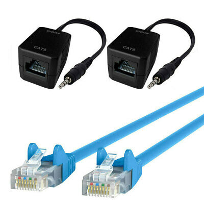Male AUX 3.5mm Plug Stereo Audio Over Single RJ45 CAT5 Extender w/15m Cable