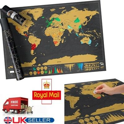 Nomal Scratch Off World Map Deluxe Edition Travel Log Journal Poster Wall Decor!