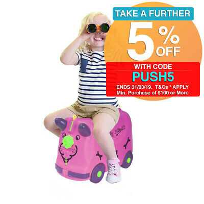 Gem Toys Pink Puppy 18L Travel Trolley Push Ride-on Carry Luggage/Kids/Toddler