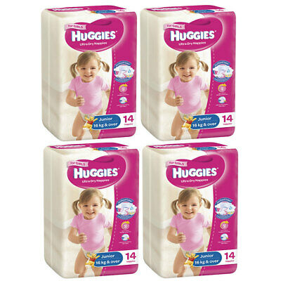 56PK Huggies Junior Size 6 Ultra Dry Nappy/Diaper Pants Girls Infant/Pooh 16kg+