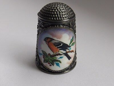Peter Swingler Solid Silver Hand Painted Thimble Bullfinch 1981 Limited Edition