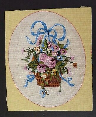 Vintage Petit Point  Embroidered Needlepoint Picture, Floral Basket