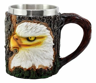 Egift Home Bald Eagle Coffee Mug With Tree Bark Theme 12 Ounces Stein Cup